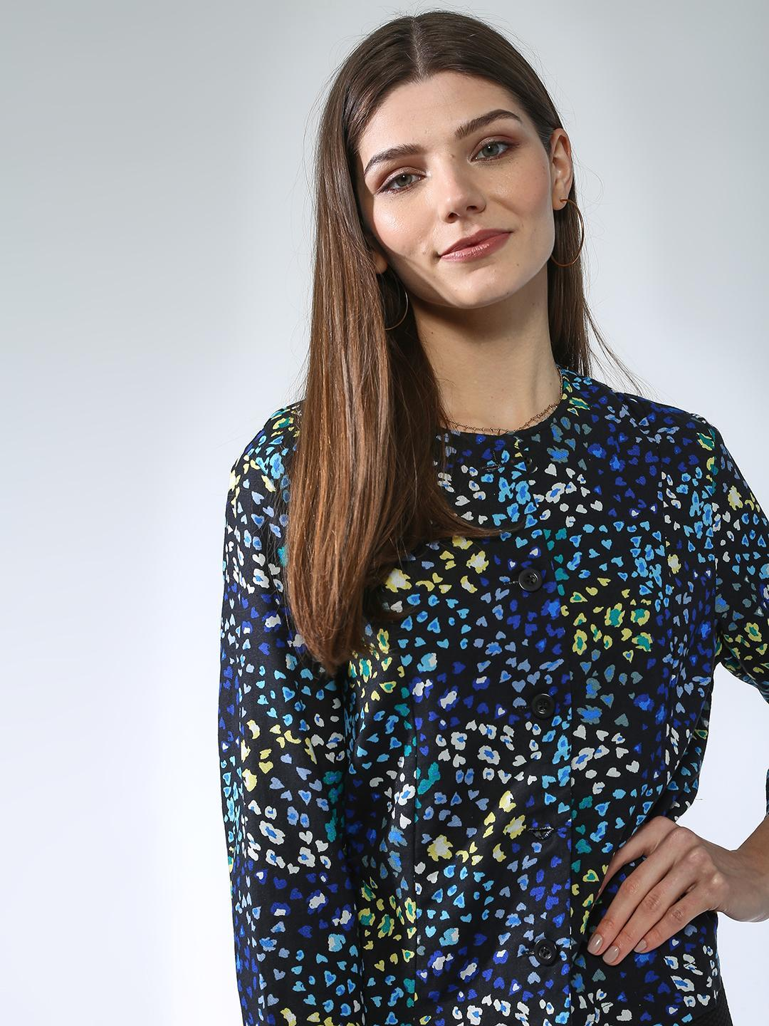 Oxolloxo Navy All Over Printed Top 1
