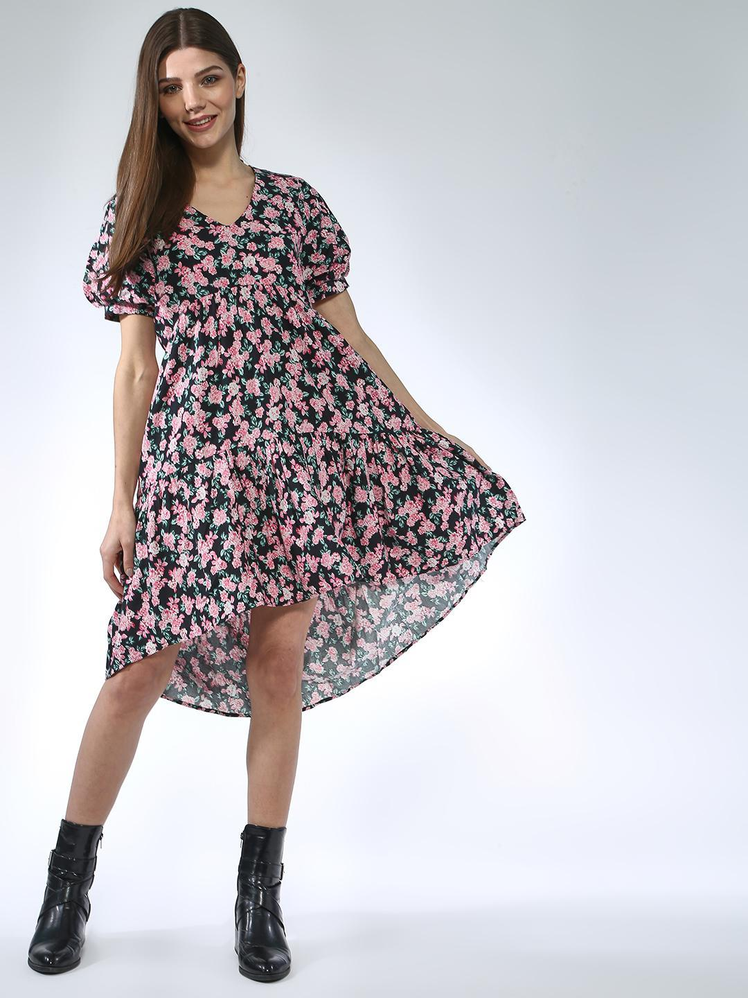 Oxolloxo Multicolor Rose Printed Dress 1