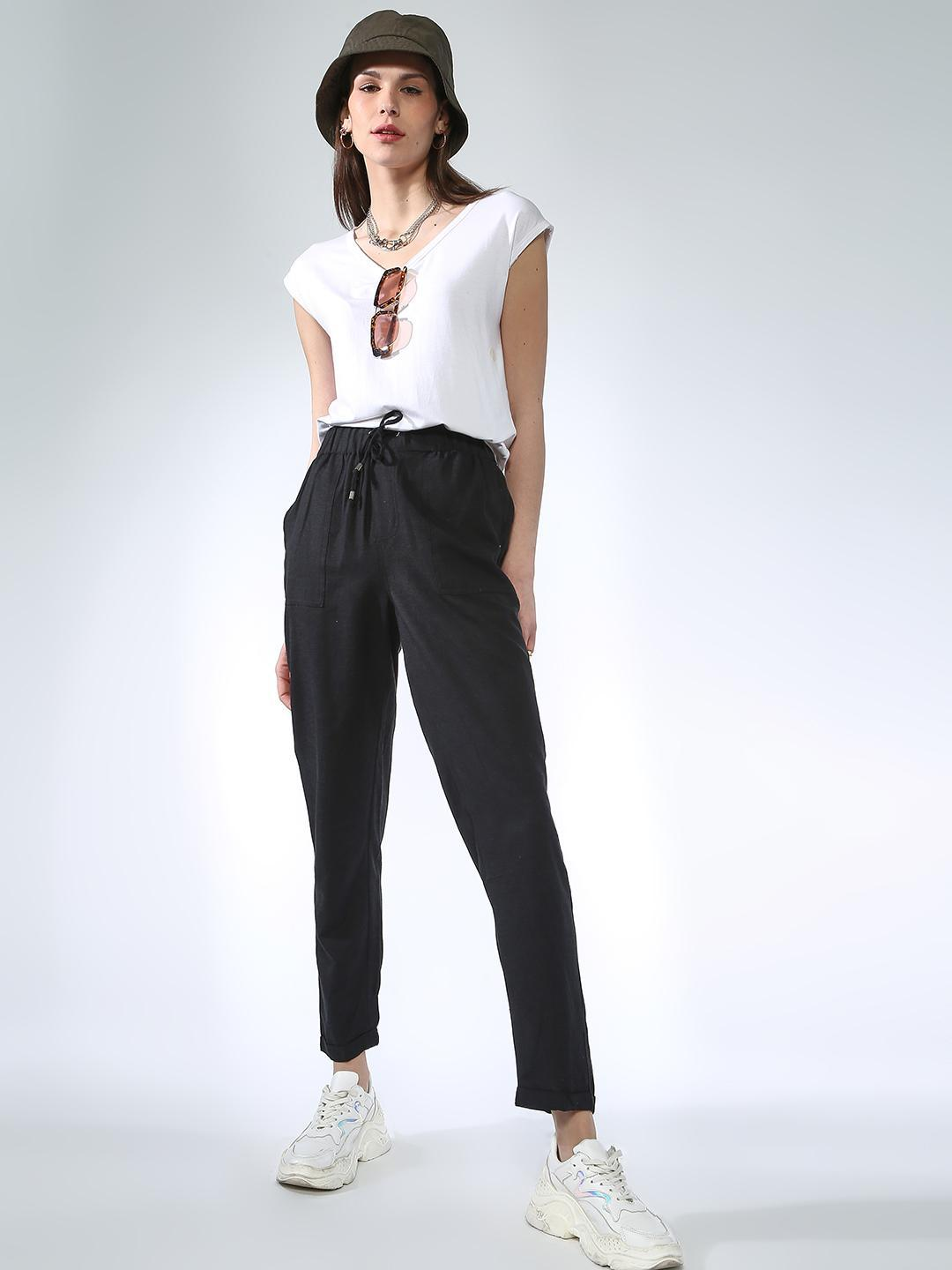 Oxolloxo Black Tie-Knot Basic Trousers 1