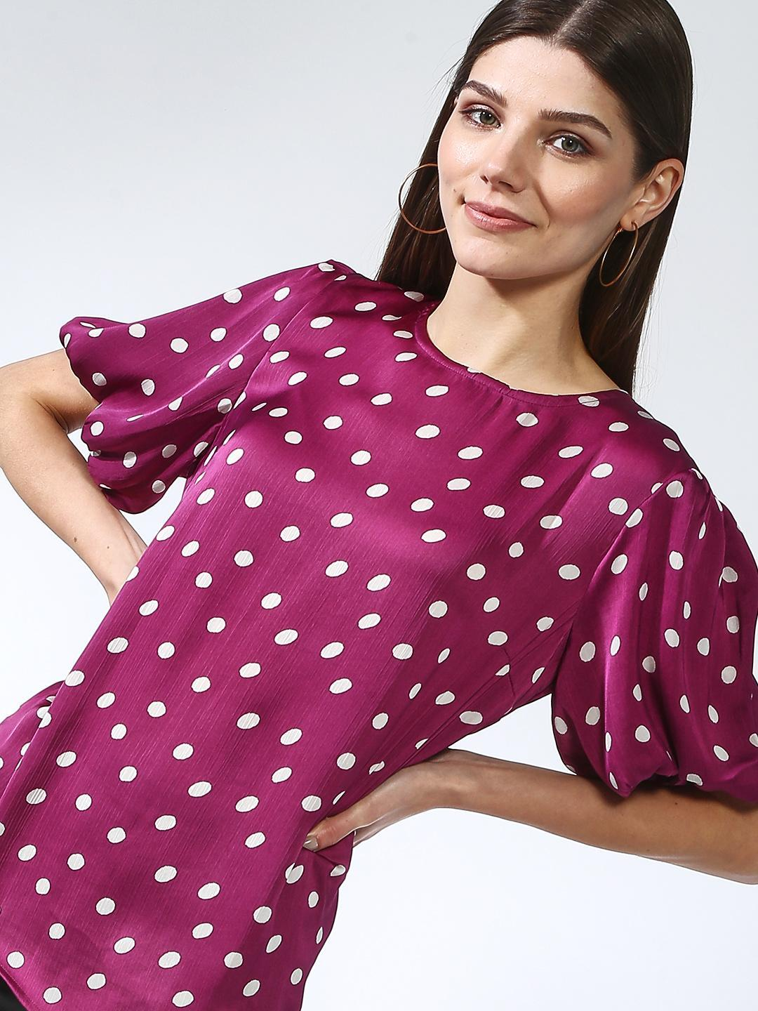 Oxolloxo Pink Polka Dot Relaxed Fit Blouse 1