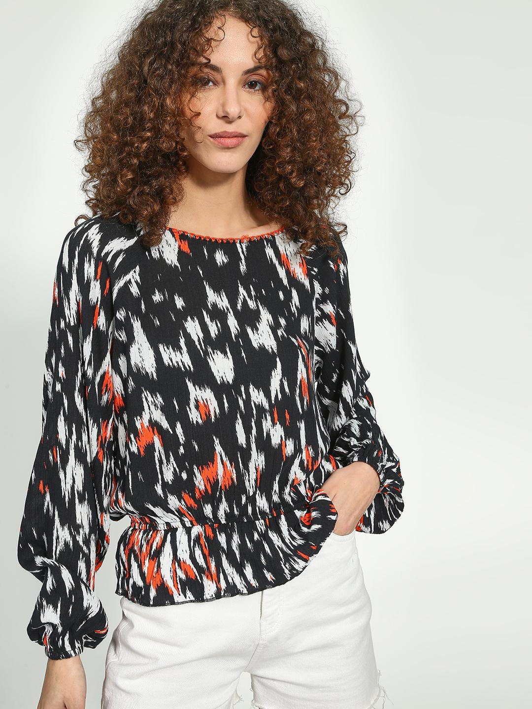 Oxolloxo Black Cinched Waist Graphic Print Blouse 1