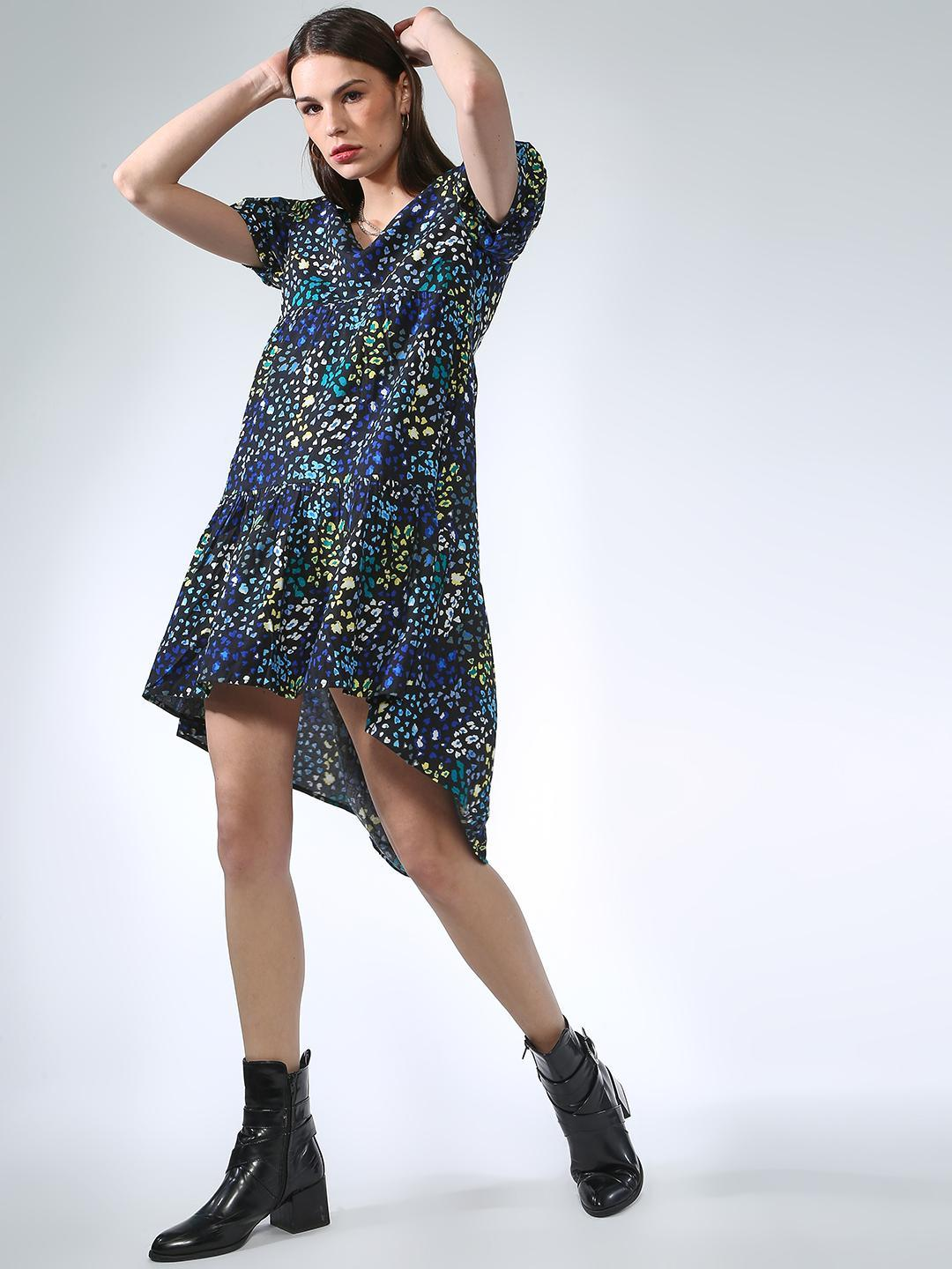Oxolloxo Navy All Over Printed Dress 1