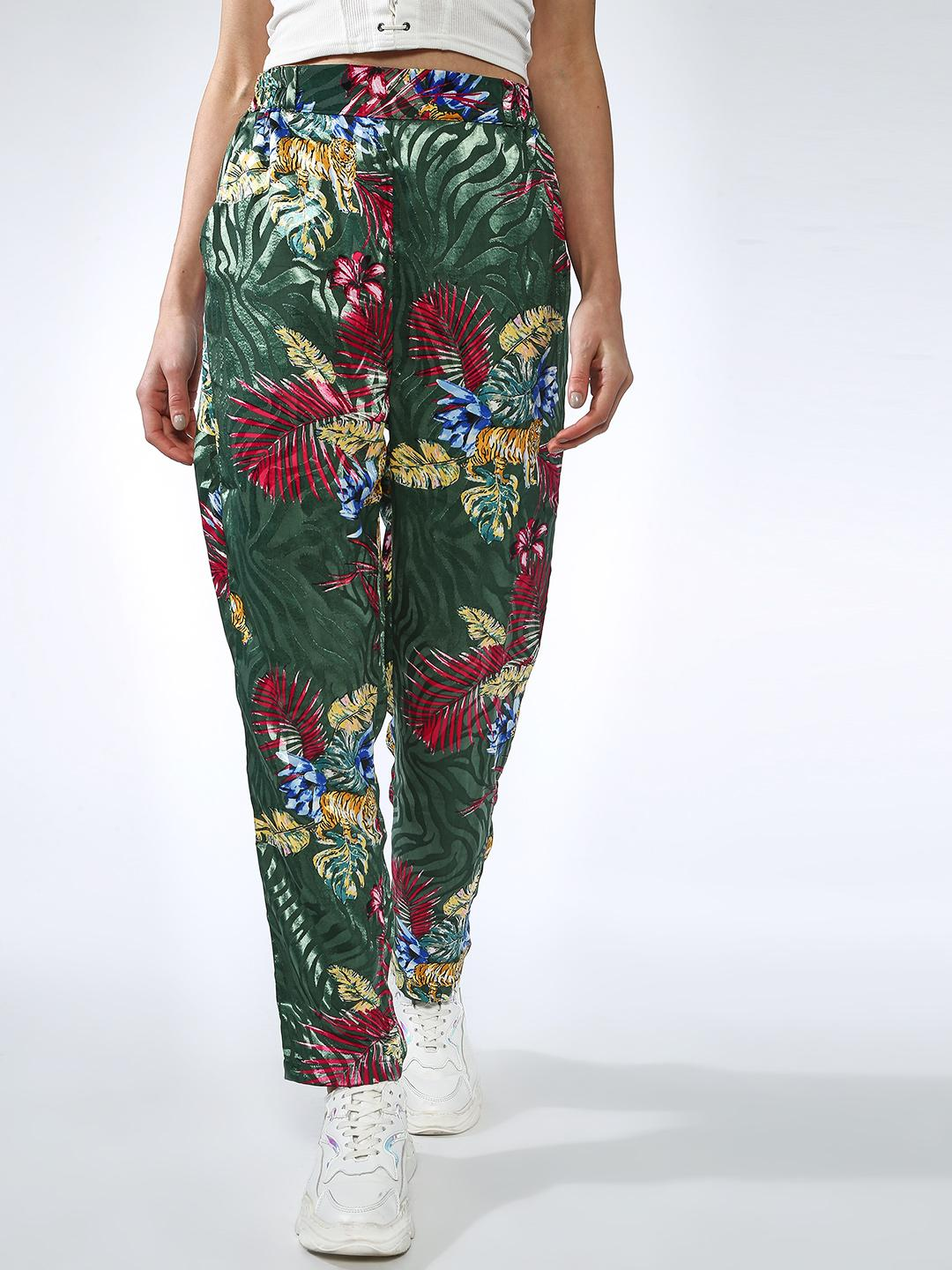 Oxolloxo Green Tropical Print Trousers 1