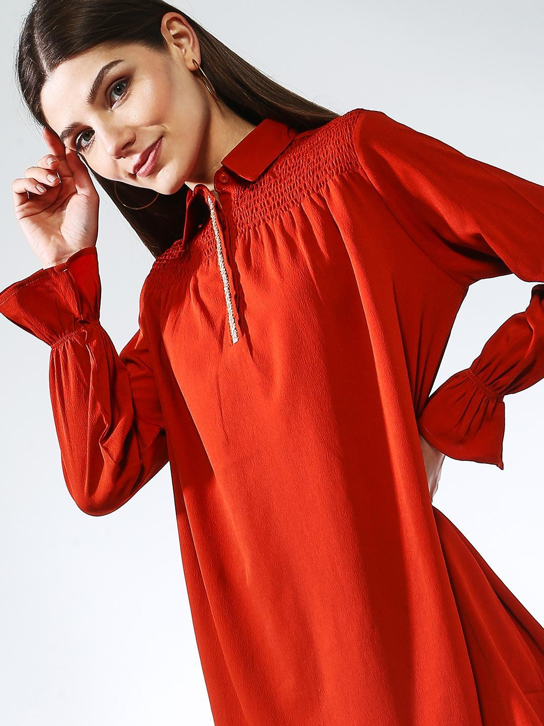 Oxolloxo Rust Embroidered Long Sleeve Tunic Top 1