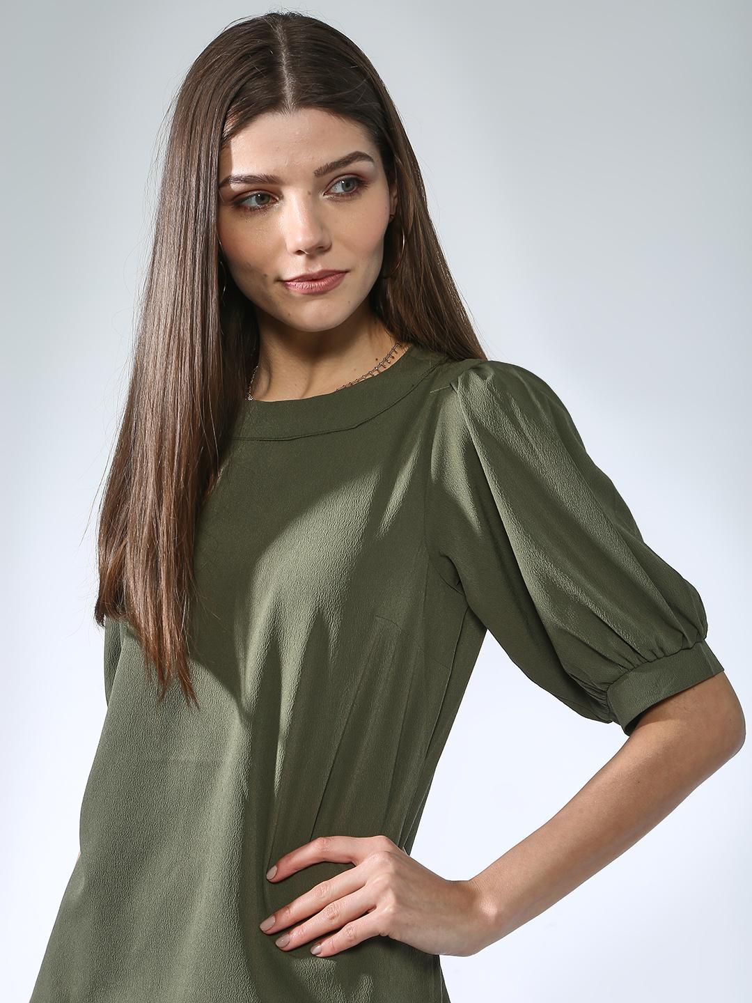 Oxolloxo Olive Basic Round Neck Top 1