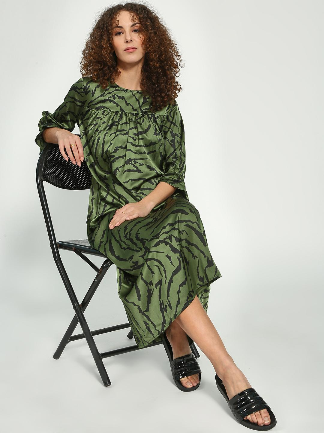 Oxolloxo Green All Over Print Maxi Lounge Dress 1