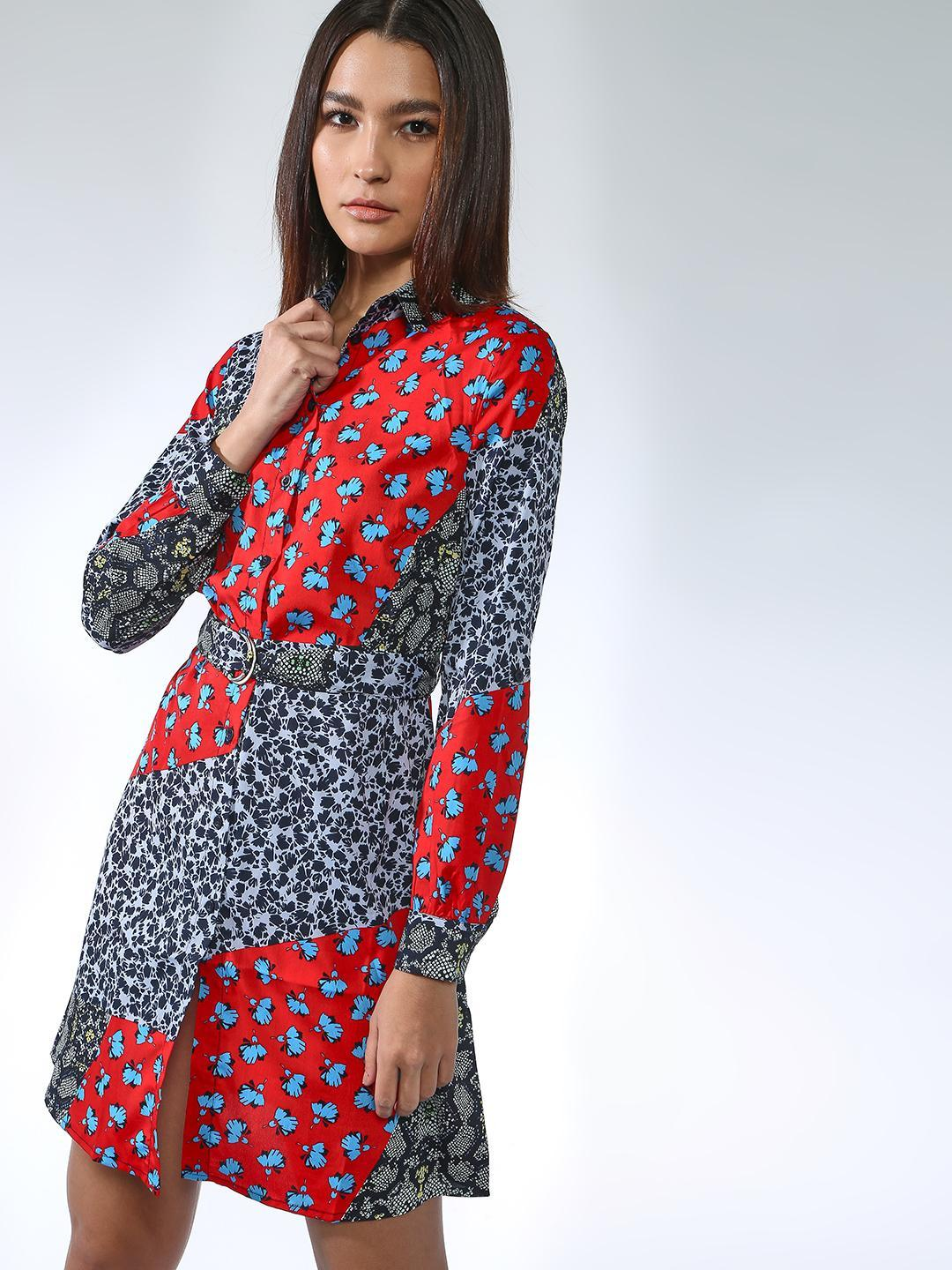 Oxolloxo Multicolor All Over Print Shirt Dress 1