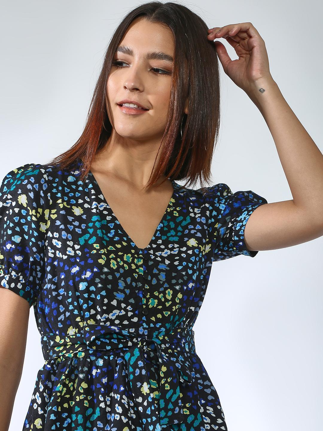 Oxolloxo Navy All Over Printed Tie-Knot Blouse 1