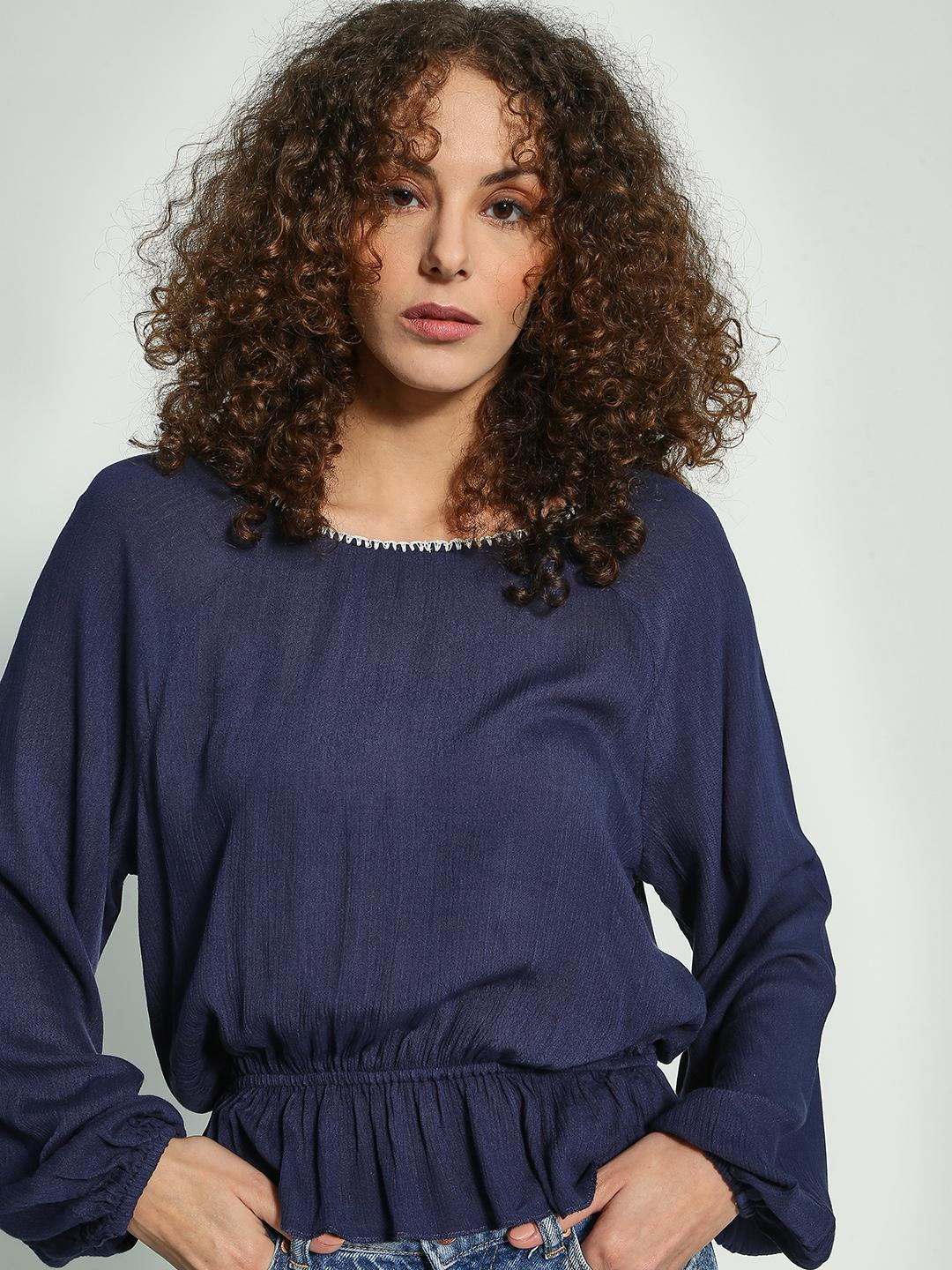 Oxolloxo Navy Cinched Waist Boat Neck Blouse 1