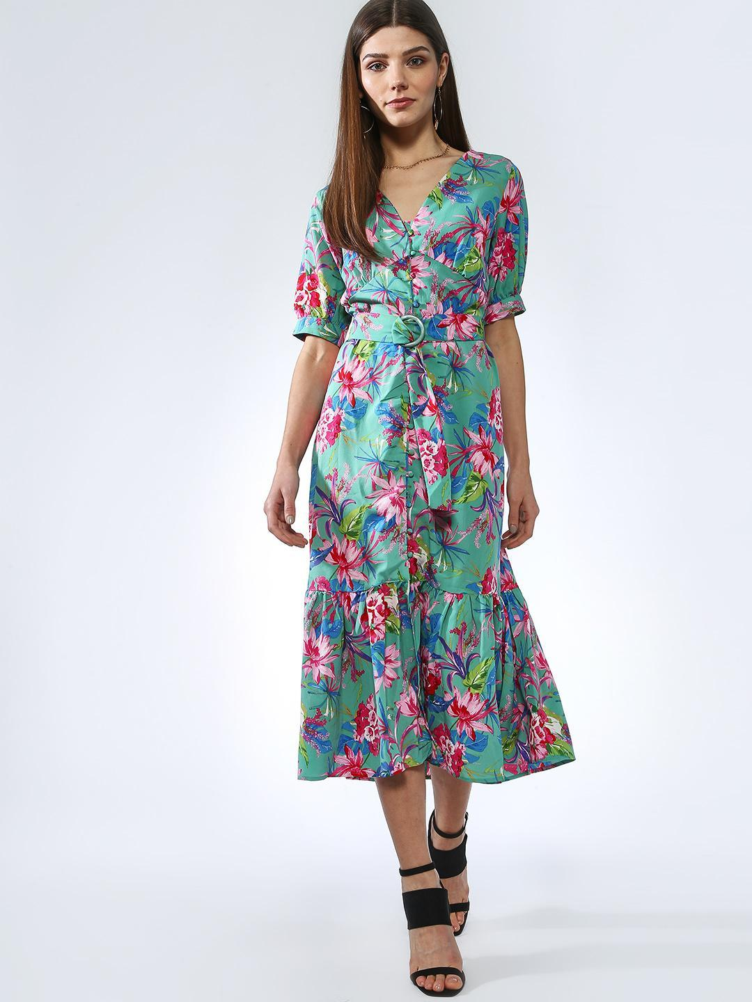 Oxolloxo Multicolor Belted Floral Print Midi Dress 1