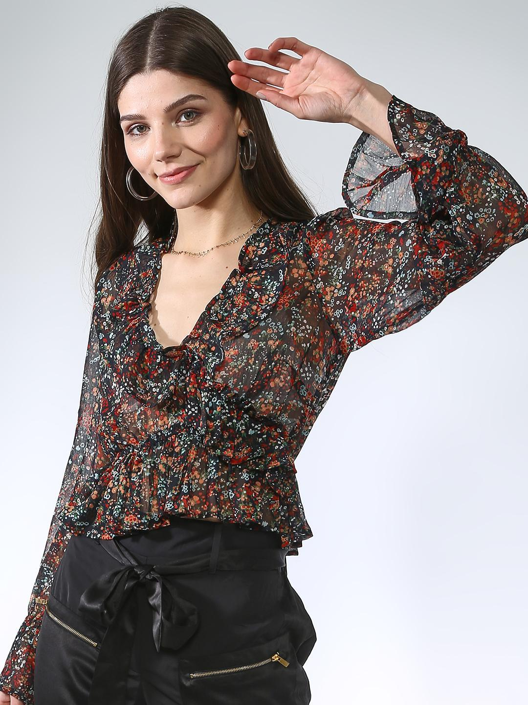 Oxolloxo Black All Over Floral Top 1