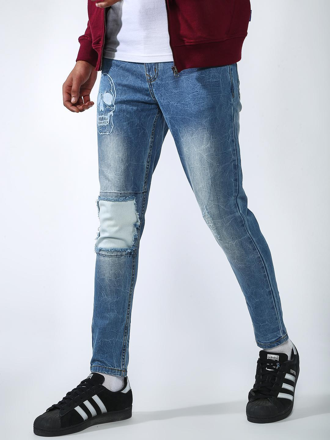 REALM Blue Distressed Skull Embroidered Slim Jeans 1