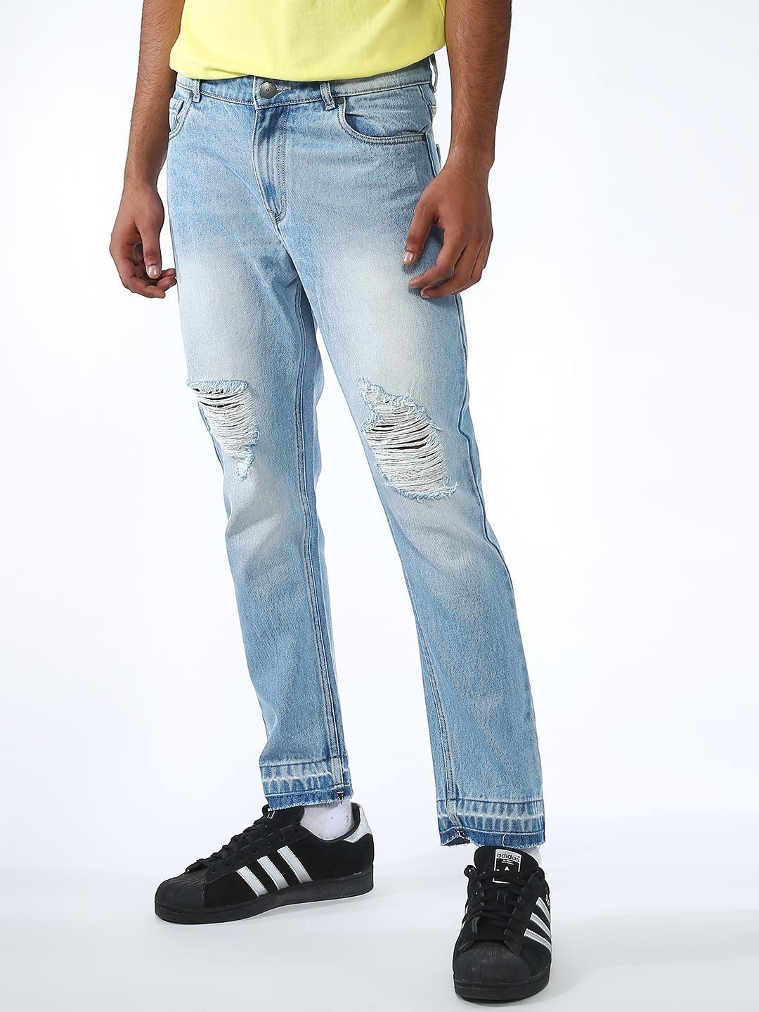 REALM Blue Light Wash Distressed Jeans 1