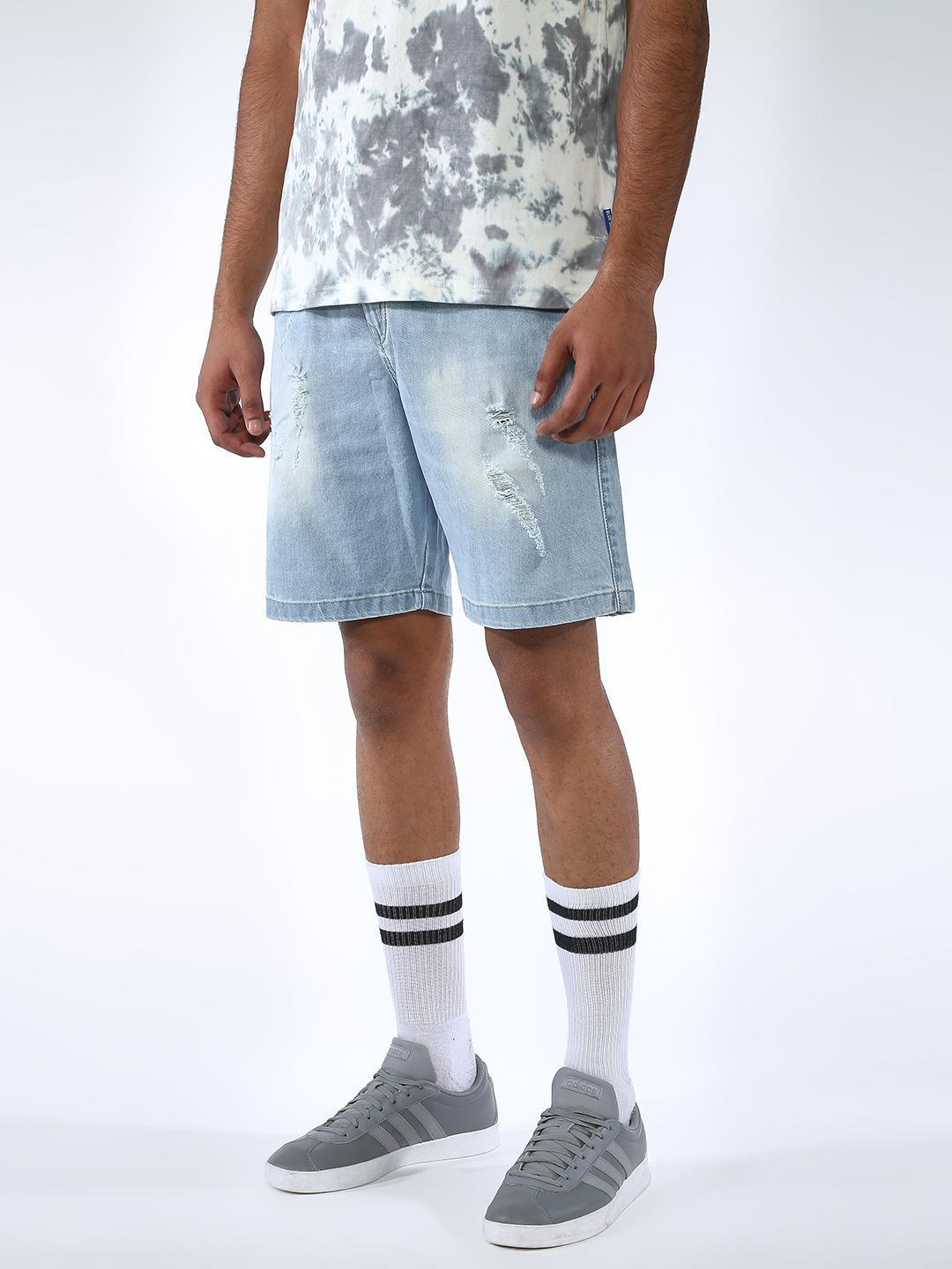 REALM Blue Distressed Light-Wash Shorts 1