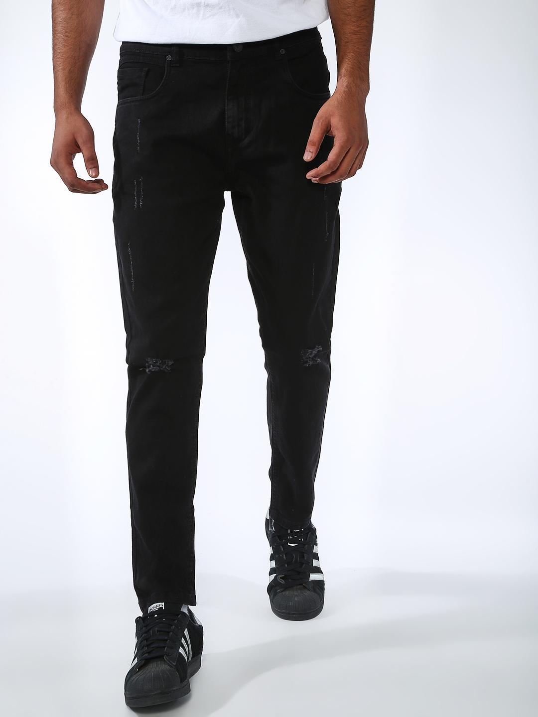 REALM Black Distressed Skinny Fit Jeans 1