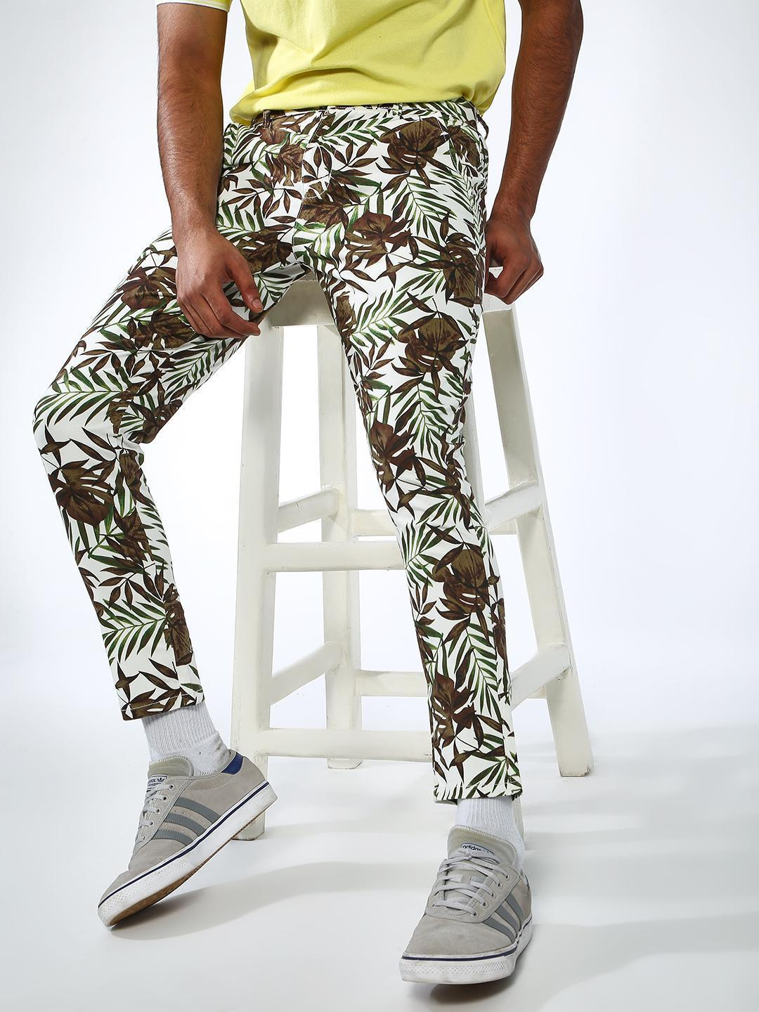 REALM Multi All Over Tropical Print Cropped Trouser 1