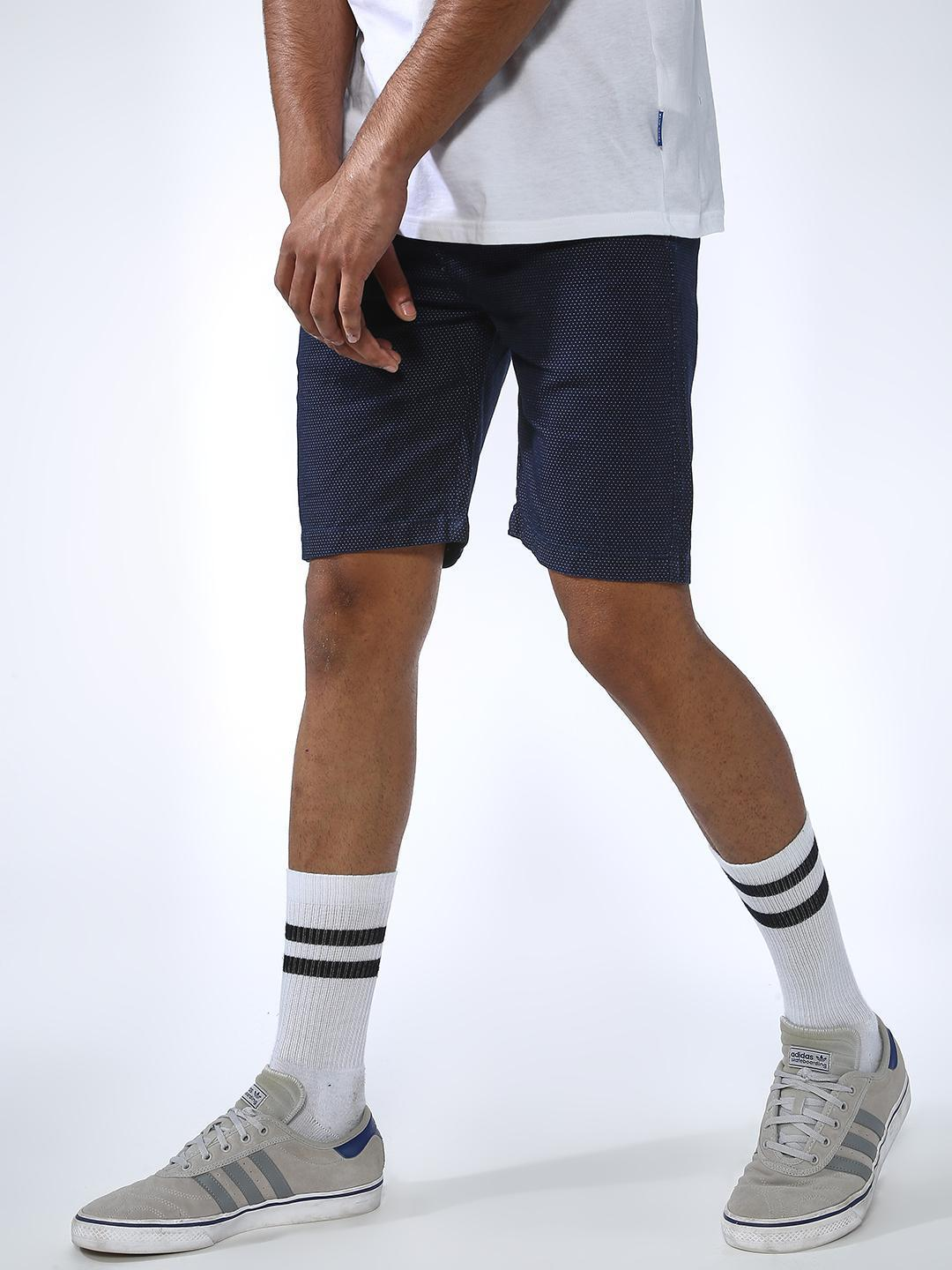 REALM Blue All Over Dot Print Slim Fit Shorts 1