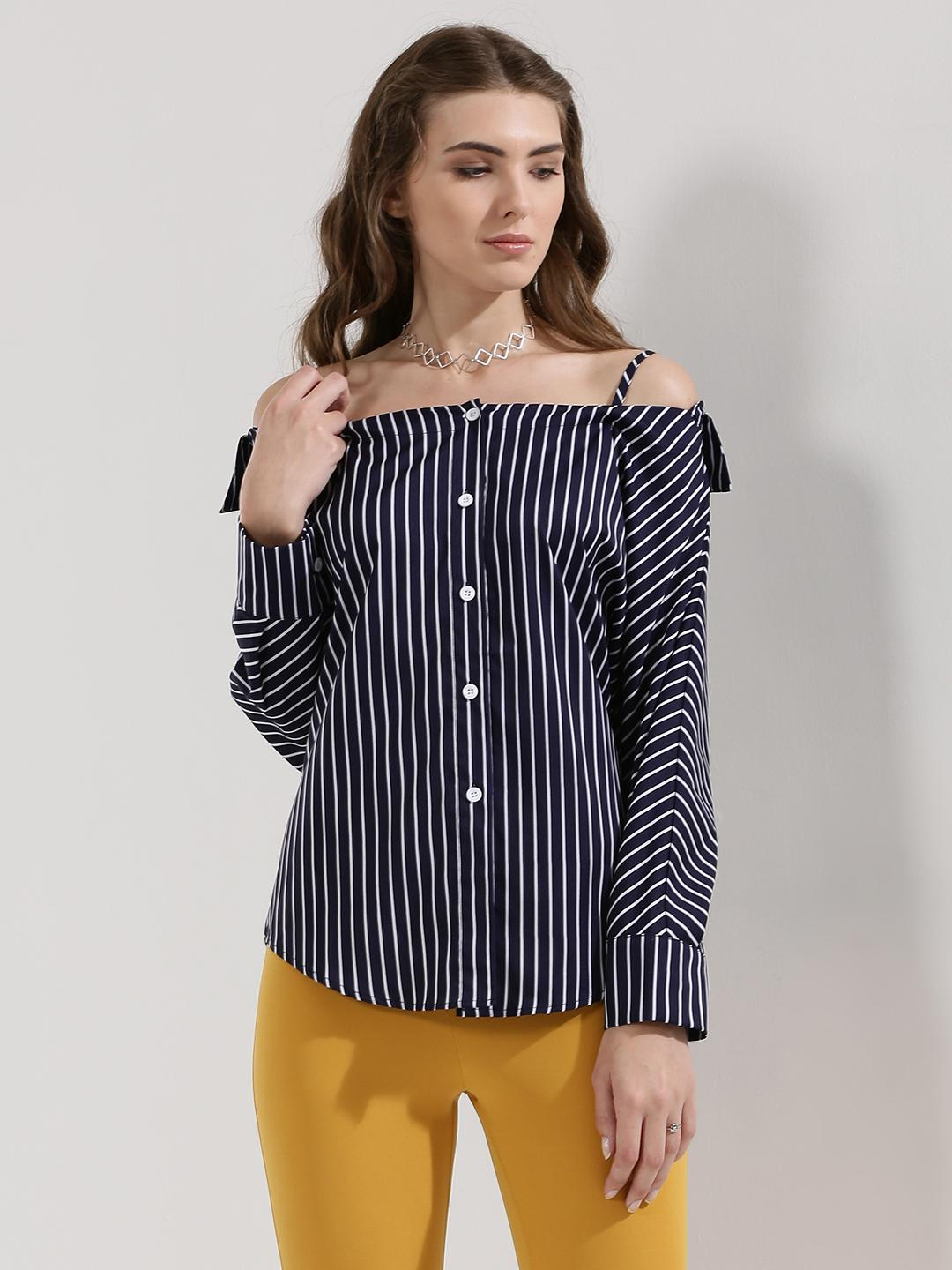 Origami Lily Navy Striped Cold Shoulder Shirt 1