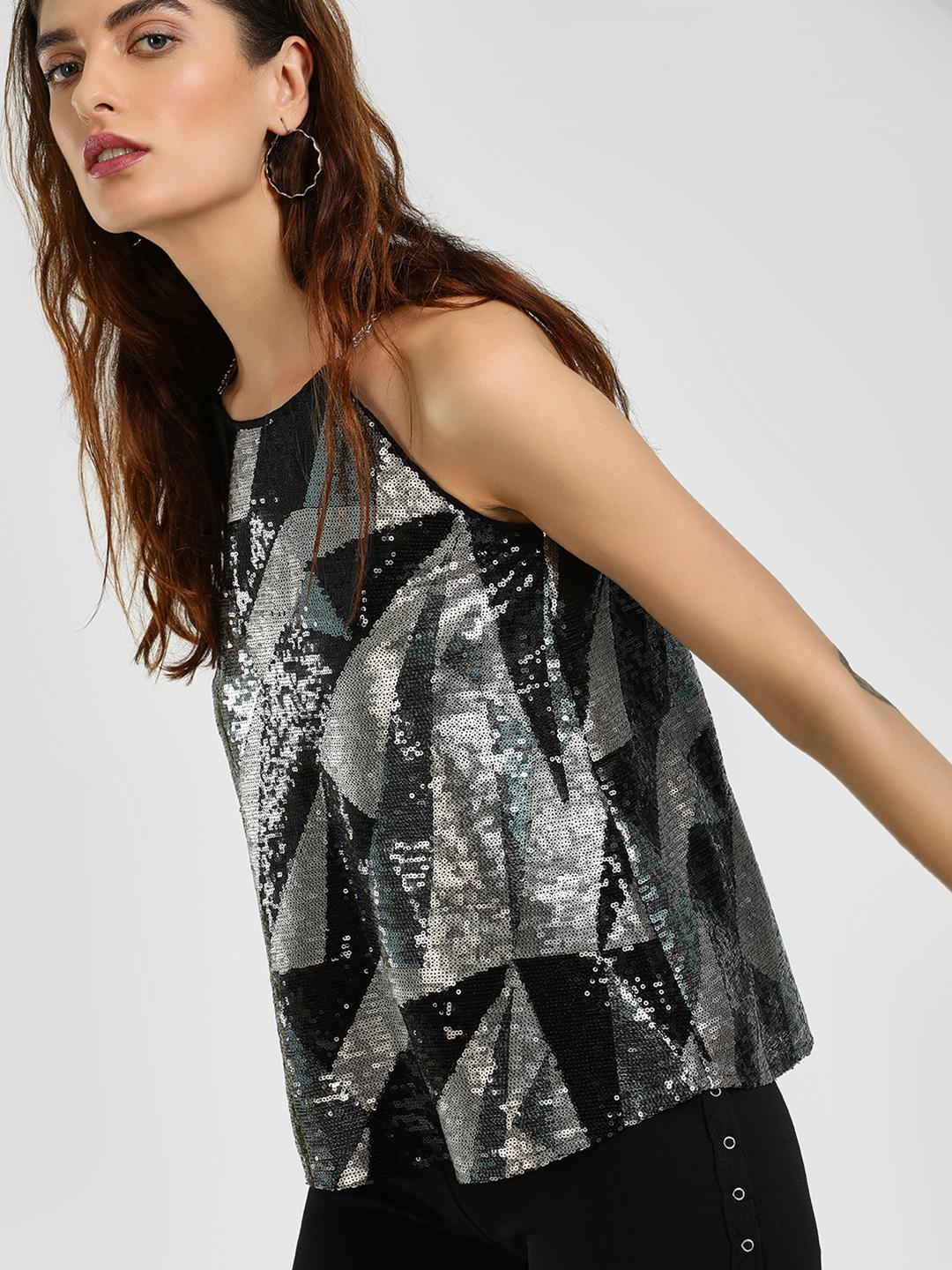 Cover Story Multi Chain Strap Sequin Blouse 1