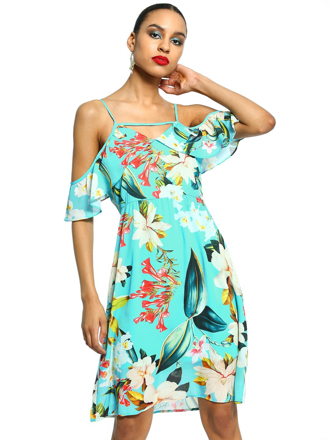 101 IDEES Multi Tropical Print Cold Shoulder Dress 1