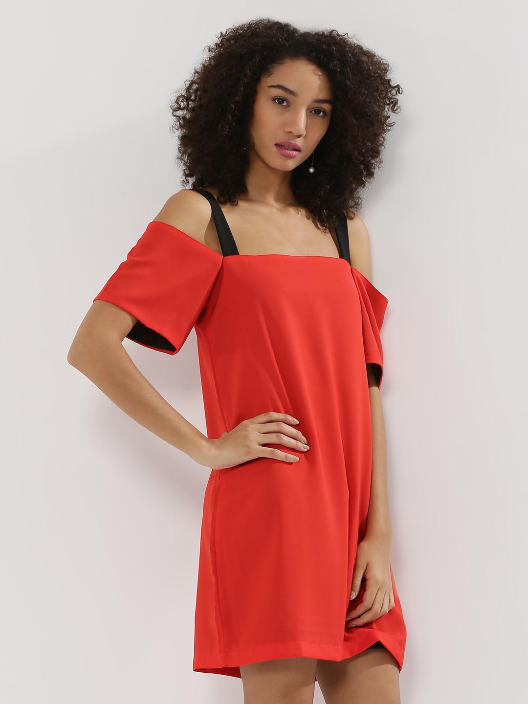 Noble Faith Red Shift Dress With Contrast Straps 1