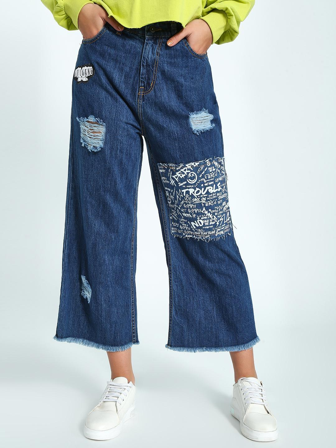 K Denim Dark Blue KOOVS Graffiti Patch Cropped Flared Jeans 1