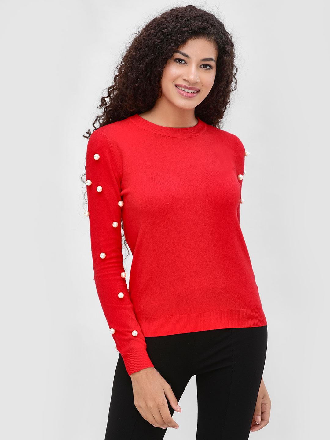 Cover Story Red Pullover With Sleeve Detail 1