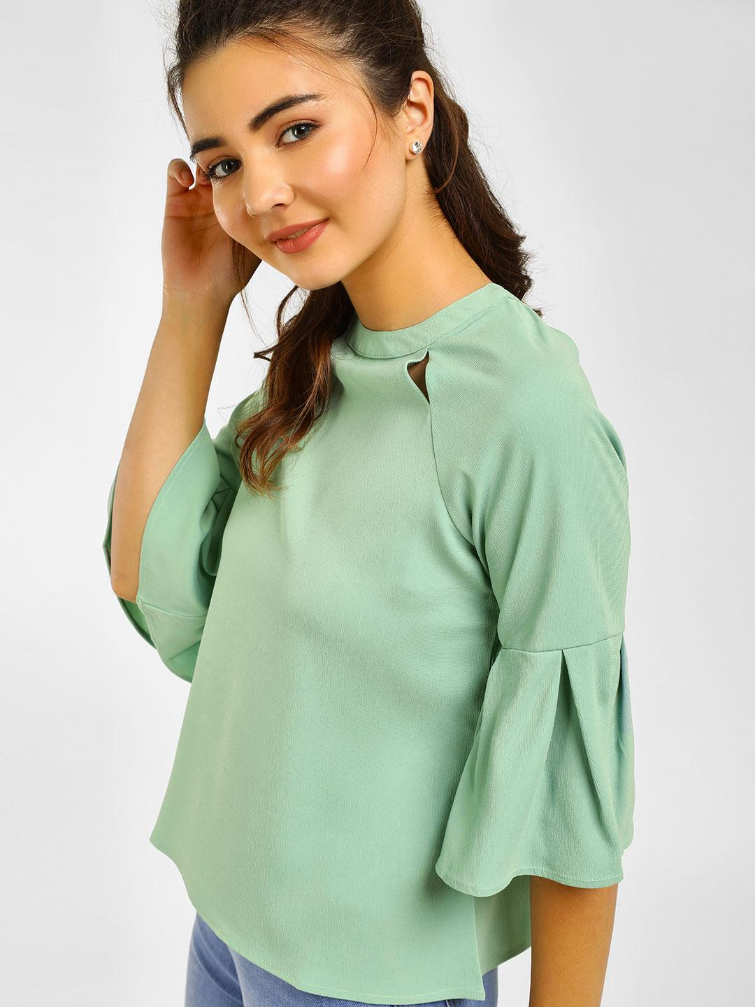 Cover Story Mint Casual Bell Sleeve Blouse 1