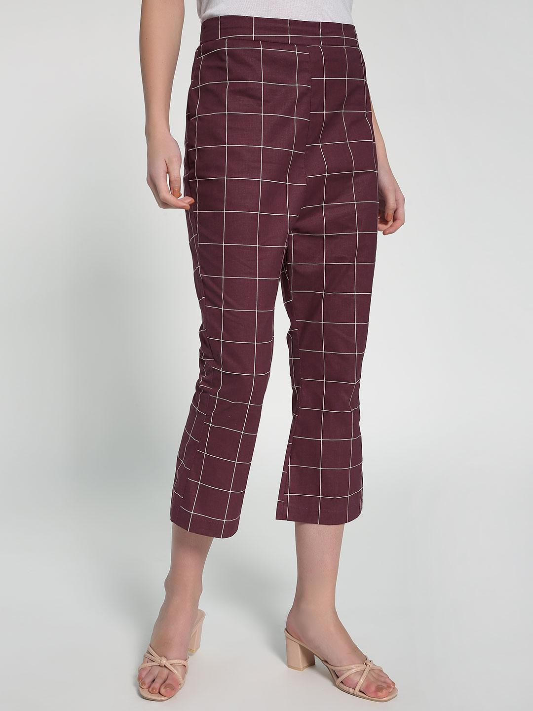 Closet Drama Maroon Grid Check Print Cropped Trousers 1