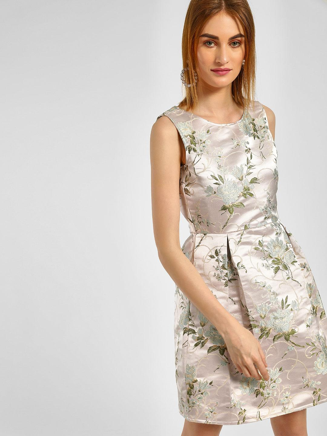 Cover Story Pink Floral Embroidered Skater Dress 1
