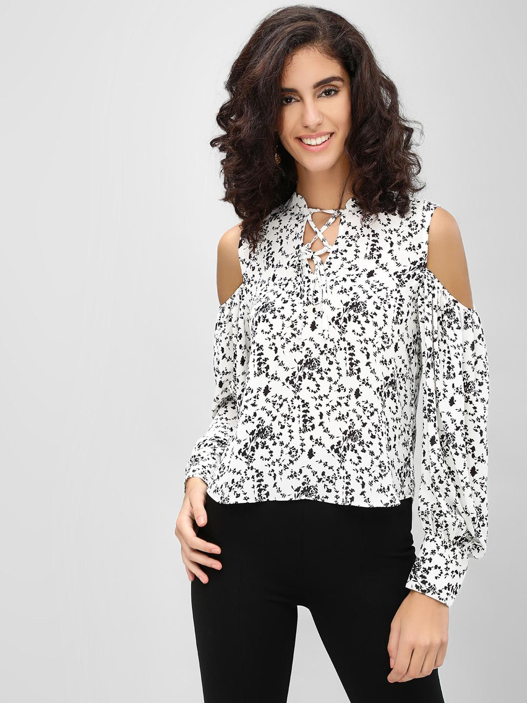 Cover Story White Ditsy Floral Cold Shoulder Top 1