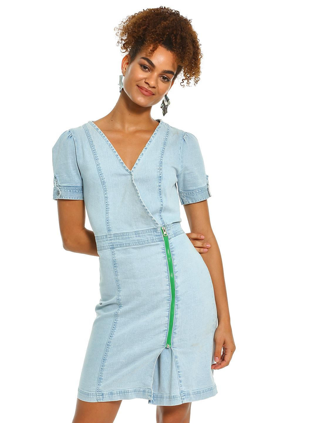 K Denim Light Blue KOOVS Zip Detail Denim Dress 1