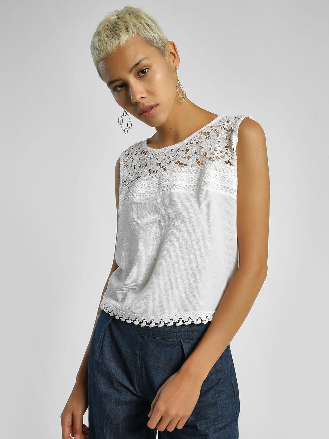 Privy League White Crochet Lace Panel Sleeveless Blouse 1