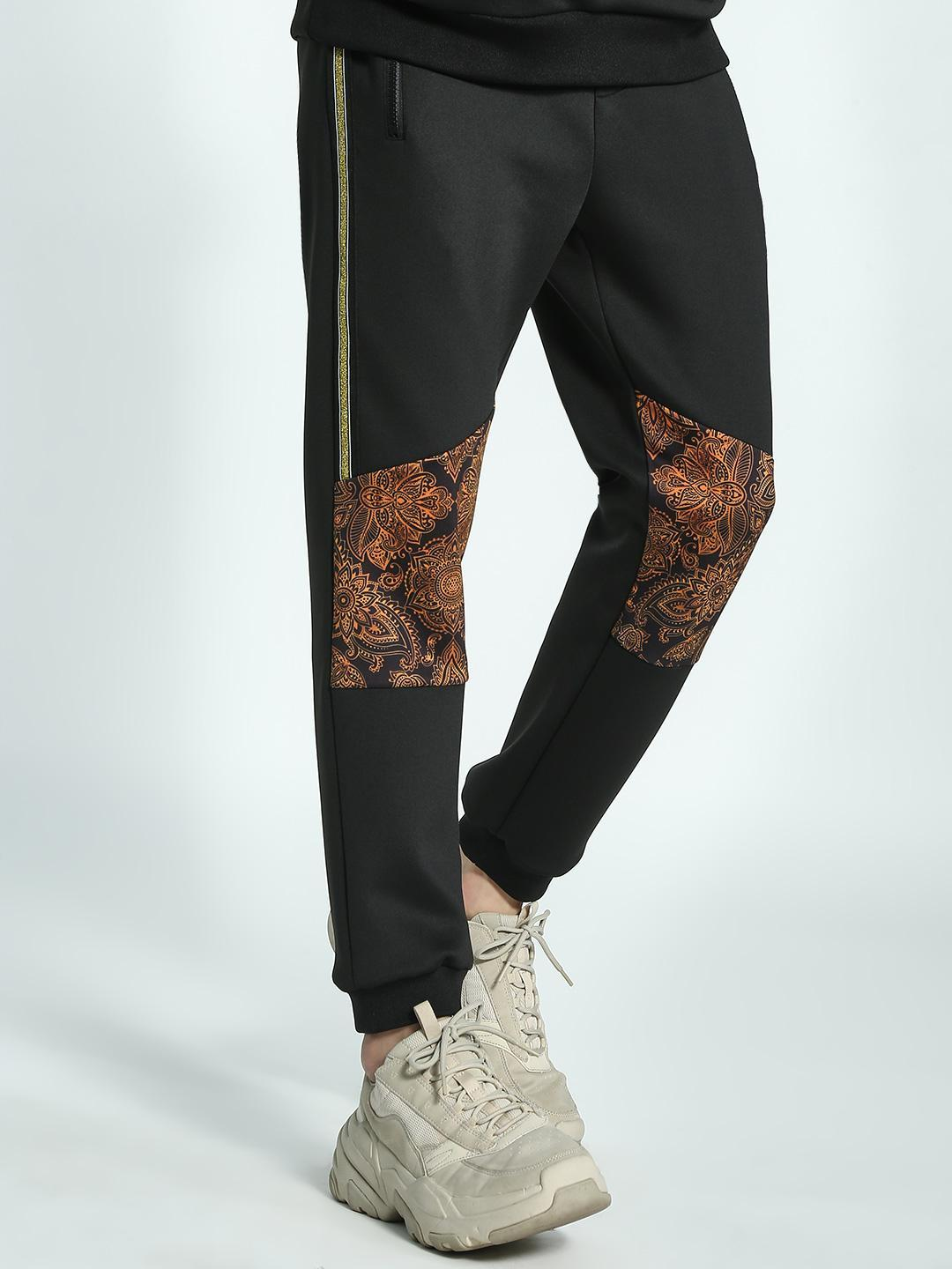 KOOVS Black Paisley Print Side Tape Joggers 1