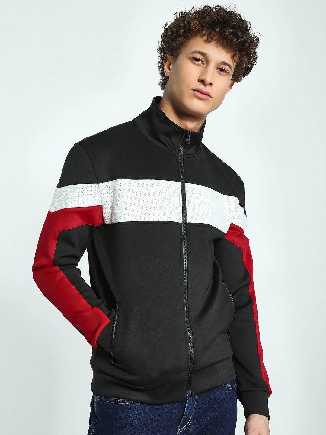 KOOVS Black Perforated Contrast Panel Track Jacket 1