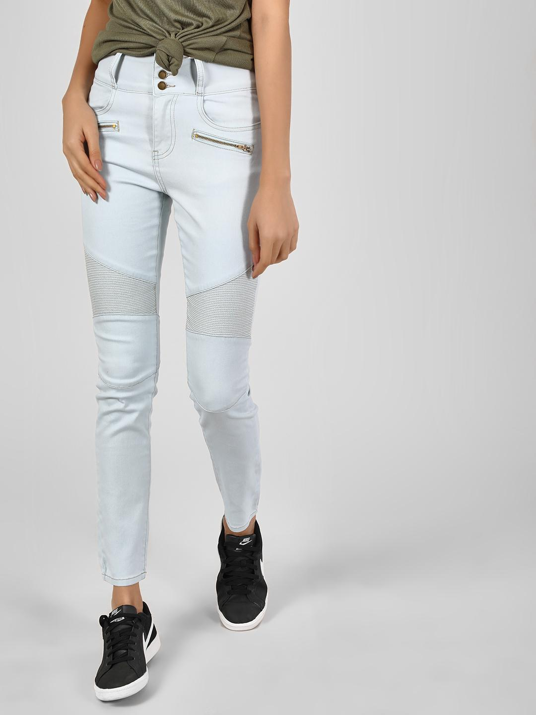 Iris LIGHT DENIM Washed Biker Panel Skinny Jeans 1