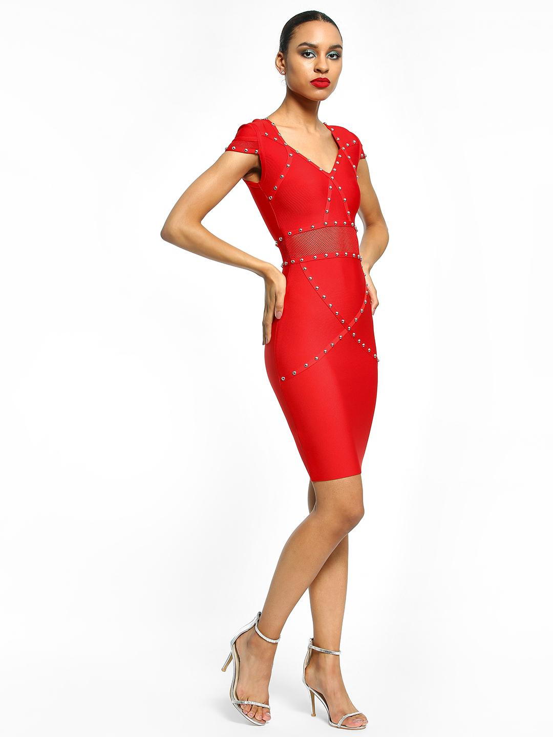 Realty, Lajoly & Co Red Studded Bandage Bodycon Dress 1