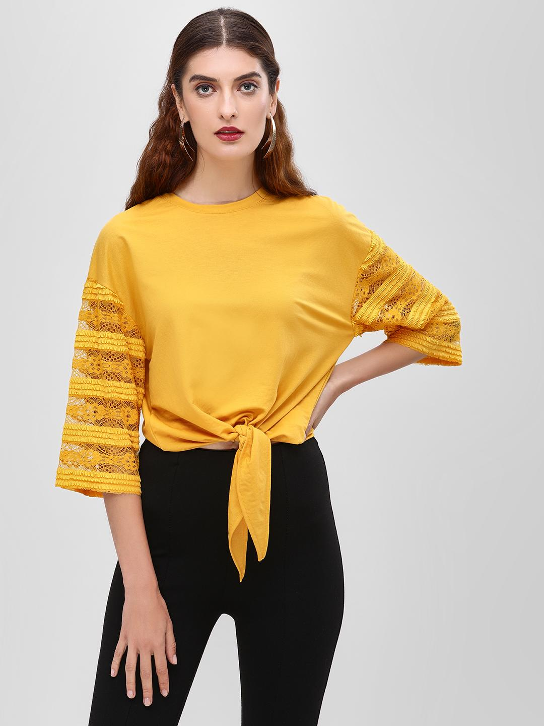 Cover Story Mustard Front Tie Knot T-Shirt 1