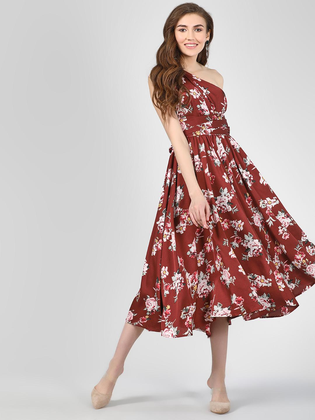 Cover Story Print Floral Print Maxi Dress With Asymmetric Shoulder 1