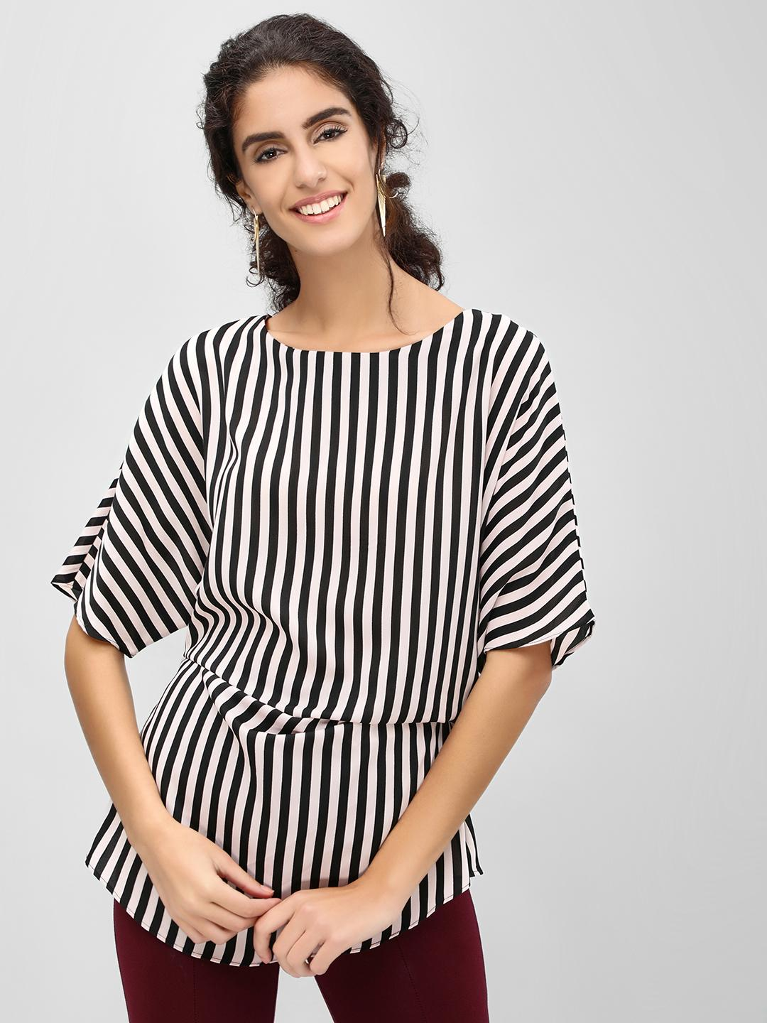 Cover Story Pink Side Gather Detail Striped Top 1