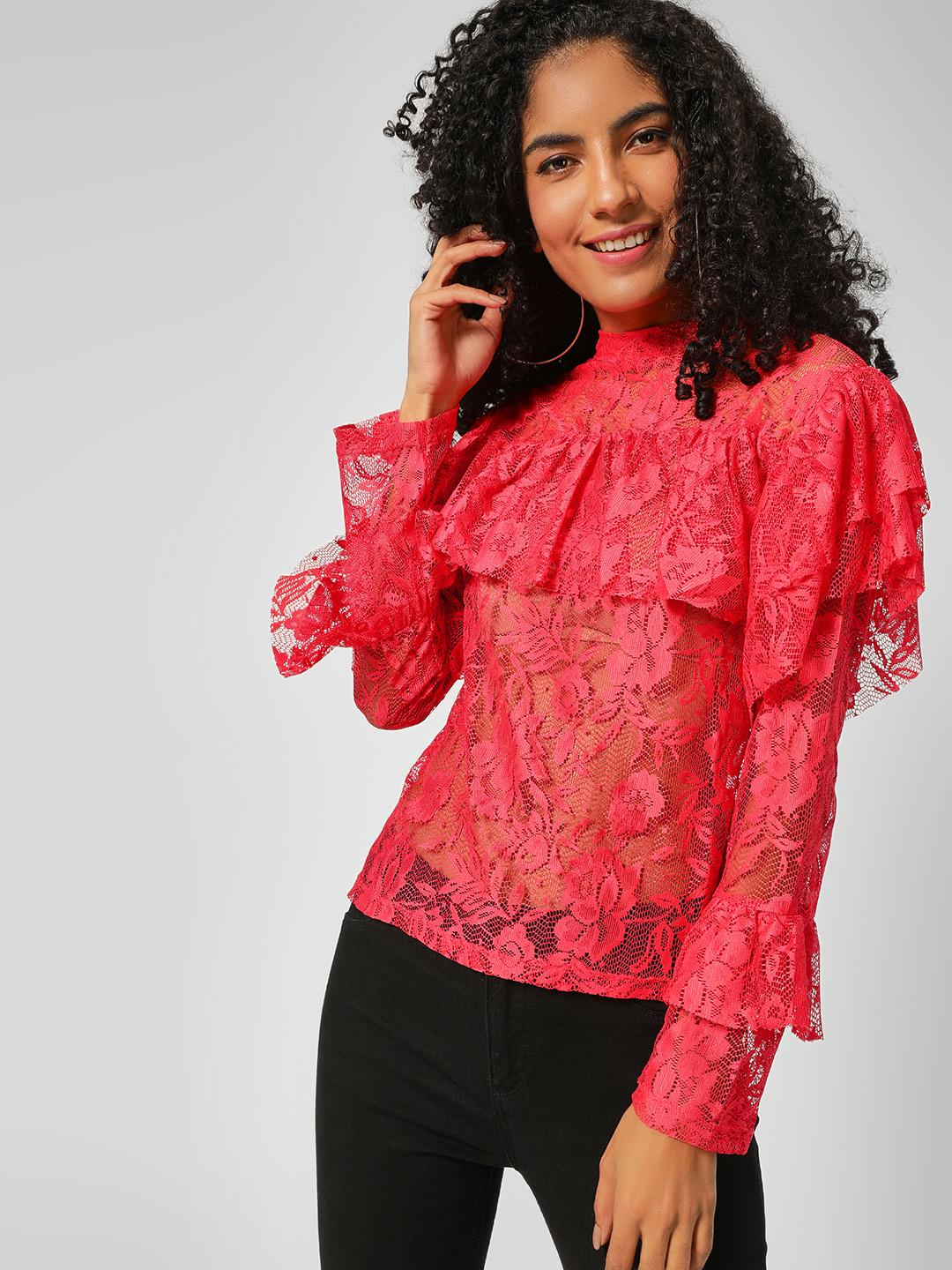 All Good Things Red Ruffle Detail Mesh Top 1