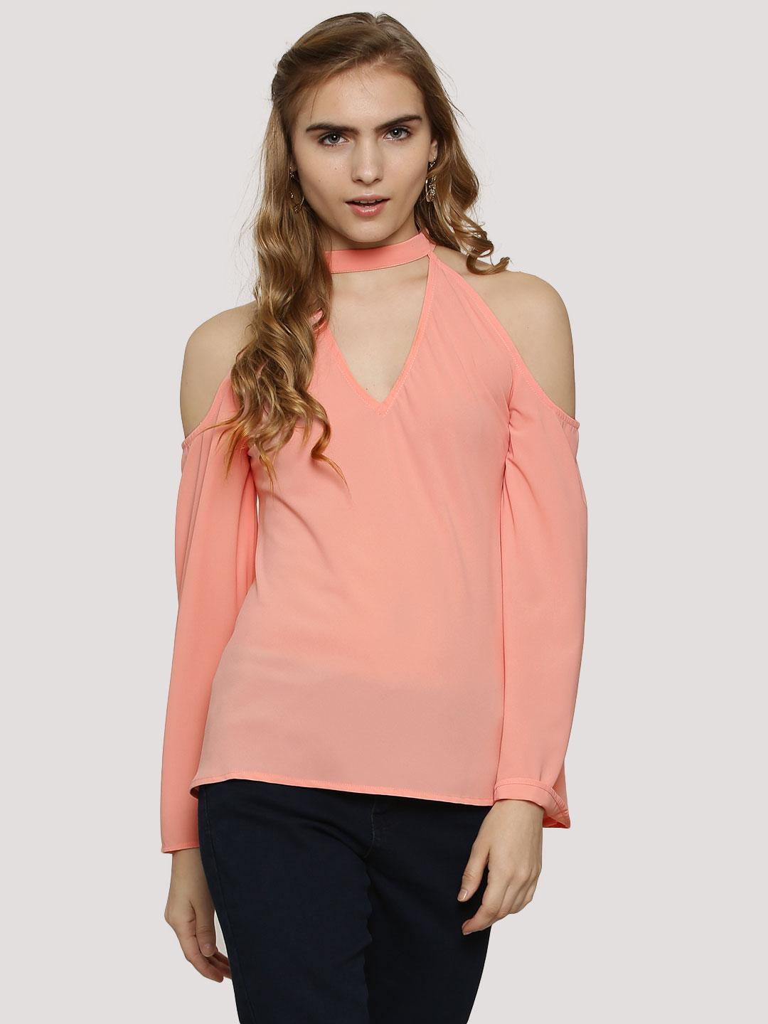 Oliv Blush Pink as NF1529 Choker Top With Bell Sleeves 1