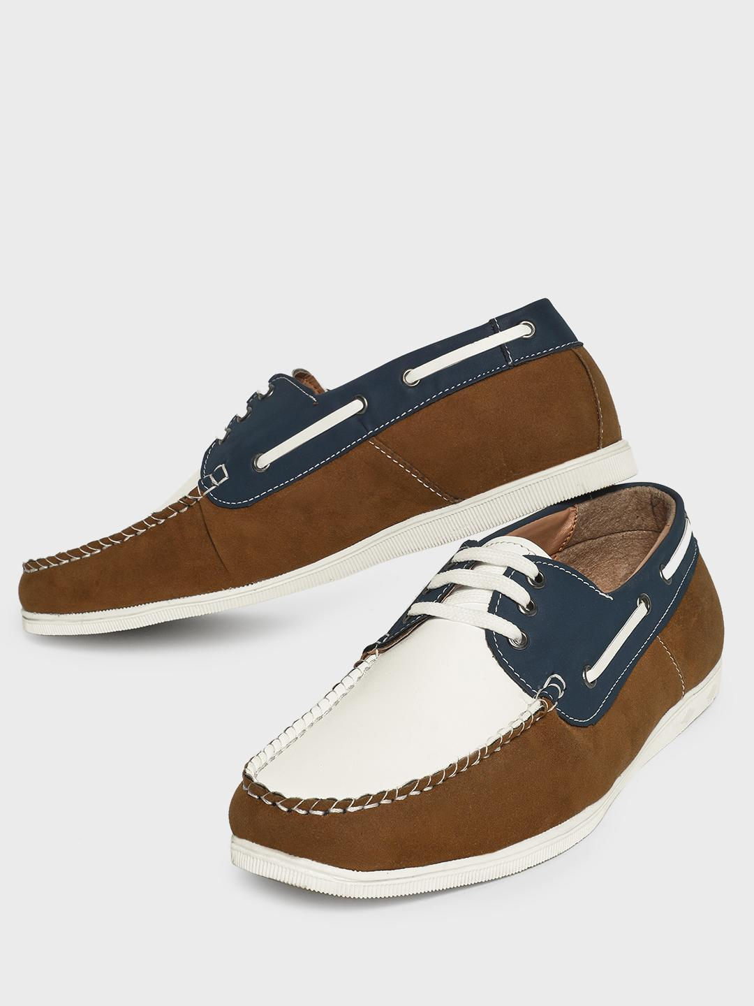 Bolt Of The Good Stuff Brown Colour Block Boat Shoes 1