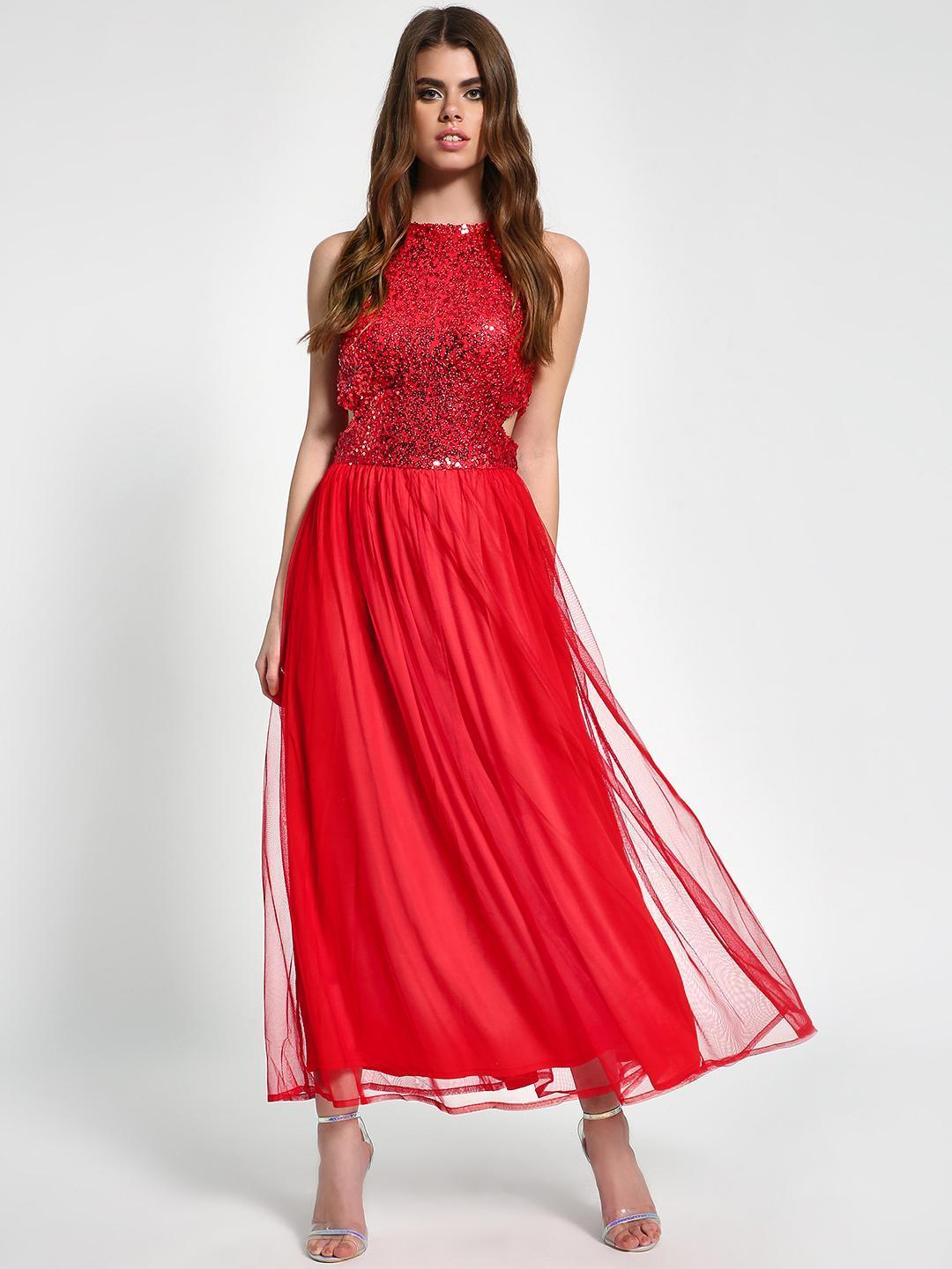 Flying Machine Red KOOVS Sequin Back Tie-Up Maxi Dress 1