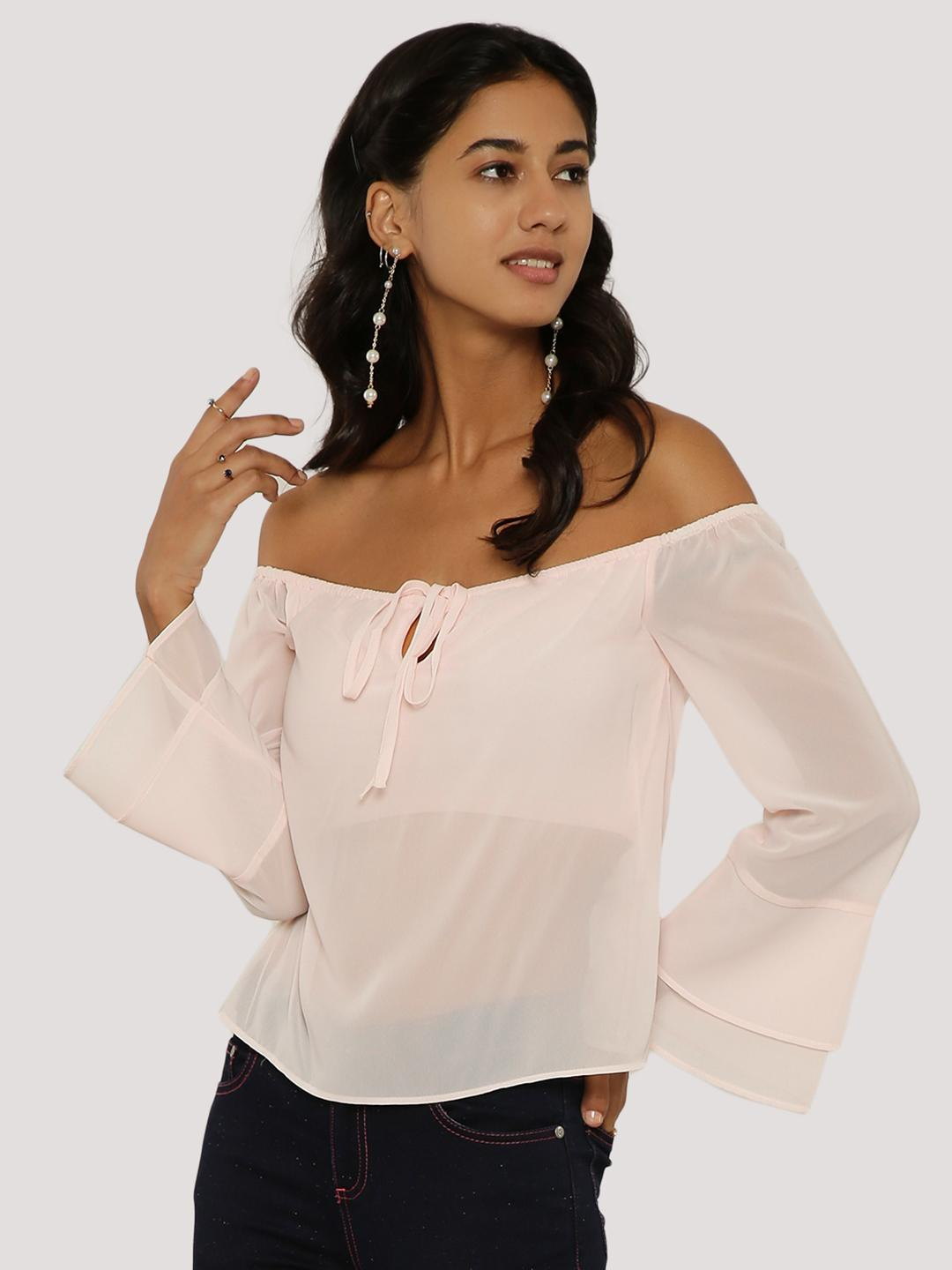KOOVS SHELL PINK Tie-Up Off Shoulder Top 1