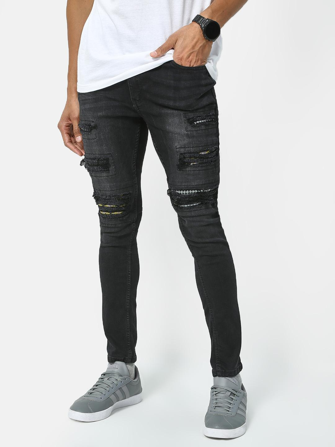 IMPACKT Black Ripped Patch Distressed Jeans 1