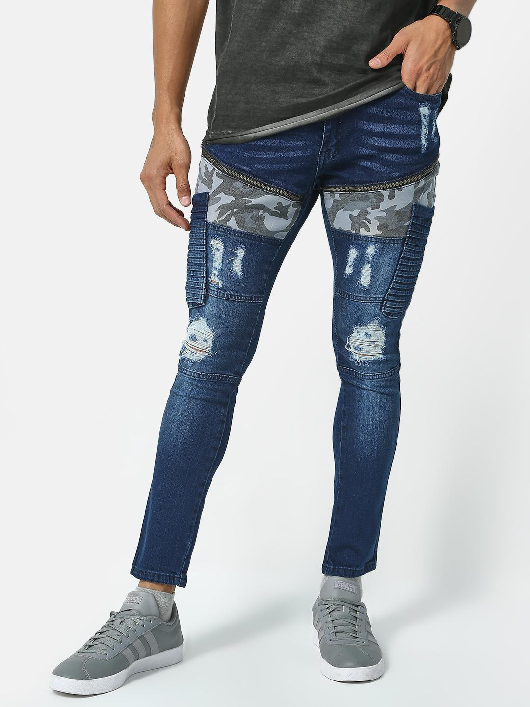 IMPACKT Navy Camo Patch Distressed Jeans 1