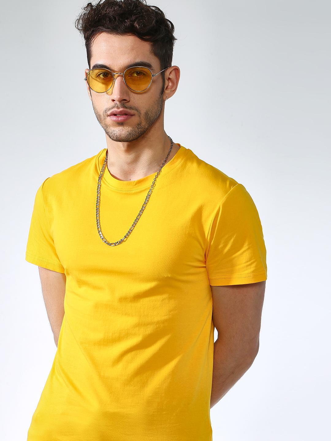 KOOVS Yellow Ribbed Muscle Fit T-Shirt 1