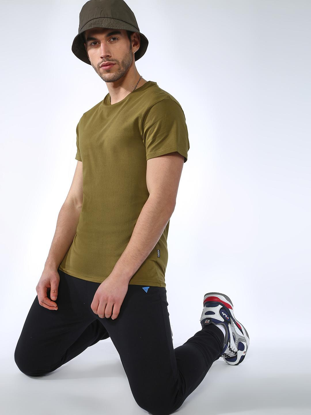 KOOVS Olive Basic Half Sleeves T-Shirts 1