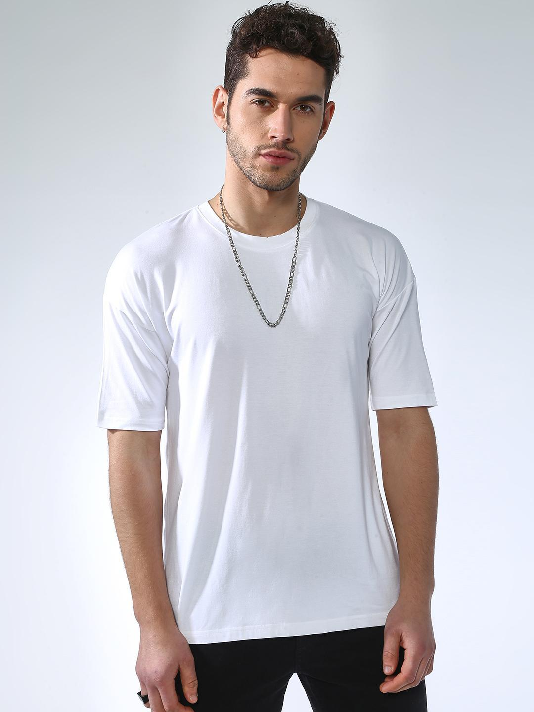 KOOVS White Basic Casual Slim Fit T-Shirts 1